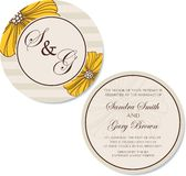 Round vintage wedding invitation card Royalty Free Stock Photos