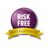 Round violet button with words `Risk Free - 100% Guarantee`. Round violet button and gold ribbon with words `Risk Free - 100% Guarantee`. Money back or over Royalty Free Stock Images