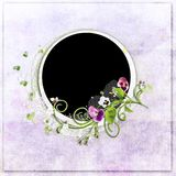 Round violet spring frame with colour heartsease Royalty Free Stock Photo