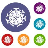 Round viral bacteria icons set. In flat circle reb, blue and green color for web Stock Images