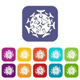 Round viral bacteria icons set. Vector illustration in flat style in colors red, blue, green, and other Stock Image
