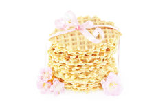 Round wafers tied with a pink ribbon Stock Photo