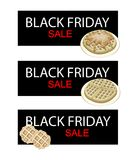 Round Waffles on Black Friday Sale Banner Stock Photos
