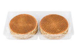 Round waffles in plastic transparent box Stock Photos