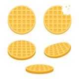 Round waffles set. Belgium round waffles illustration set. Flat vector style cartoon icons, different angles Royalty Free Stock Photography