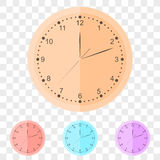 Round wall clock in flat style. Royalty Free Stock Images