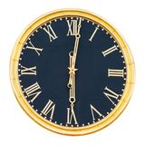 Round clock with gilded dial and hands, isolated on a white background stock images