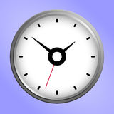 Round wall clock icon. Classic silver and white round wall clock icon isolated on purple background. Vector Illustration Royalty Free Stock Photo