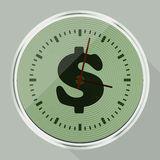 Round wall clock with long shadow Royalty Free Stock Image