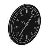 Round wall clock. Office clock single icon in black style Isometric vector symbol stock illustration web. Royalty Free Stock Photography