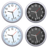 Round Wall Clock Set. Grey round wall clock in four different versions (blue, black, arabic and roman numerals), isolated on white background. Eps file available Royalty Free Stock Photo