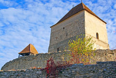 Round wall and towers of ancient citadel royalty free stock photos