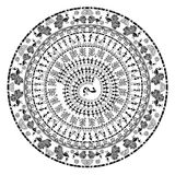 Round warli tribal art vector illustration