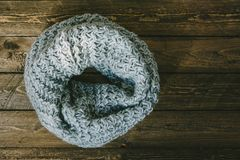 Round warm knitted scarf royalty free stock image