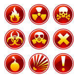 Round warning icons Stock Photos