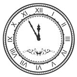 Round watch dial at five minutes to midnight. New Year Eve roman numerals Stock Photography