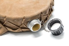 Round water bottle canteen Stock Image