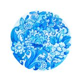 Round watercolor floral ornament Stock Images