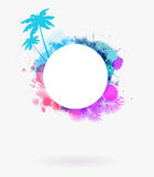 Round watercolor frame background Royalty Free Stock Images