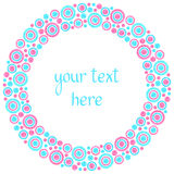 Round watercolor frame made of circles Royalty Free Stock Photography