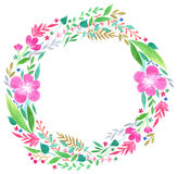 Round watercolor hand drawing frame Royalty Free Stock Photography