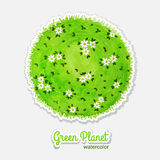 Round watercolor meadow like planet with green Stock Images