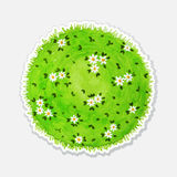 Round watercolor meadow like planet with green Royalty Free Stock Photos