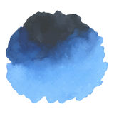 Round watercolor stains on white background. With overflow gradients of blue and dark blue. Smears of paints Stock Photography