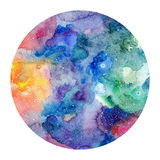 Round watercolor texture. Painted multicolored cosmic space background. Isolated circle with watercolor texture vector illustration