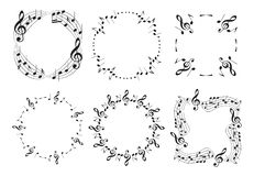 Round and wavy music frames with notes - beautiful vector set