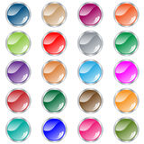 Round web buttons set of 20 in assorted colors. Web buttons. Round shiny collection of 20 navigation buttons in assorted colors and metallic casing. Isolated on royalty free illustration
