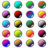 Round web buttons set of 20 in assorted colors. Web buttons. Round shiny set of 20 navigation buttons in assorted colors. Isolated on white royalty free illustration