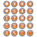 Round web buttons - vector. Set of twenty gray/orange round web buttons, isolated on white.Main buttons used on website. Useful also as icons.EPS file available stock illustration