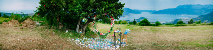 Round wedding arch of flowers and olive branches. Hanging on the Royalty Free Stock Images