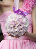 Round wedding bouquet with pink flowers Royalty Free Stock Images