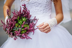 Round wedding bouquet of pink flowers Stock Images