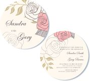 Round Wedding invitation floral card Stock Images