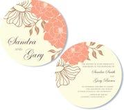 Round Wedding invitation floral card Stock Photos