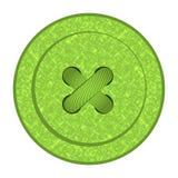 Round wektorowy guzik z zielonymi szwalnymi tekstur dziurami, nicią i Zdjęcie Stock