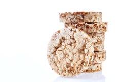 Round wheat crispbread, white background. Composition of crispbread on white background. Stock Photography