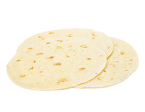 Round wheat tortillas close-up isolated on white background. Lavash. Royalty Free Stock Images