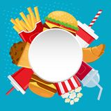 Round white banner for your text with fast food and drink. Vector illustration stock illustration