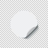 Round white blank sticker with curled edge isolated on transparent background. Vector design element. Round white blank sticker with curled edge isolated on Stock Images