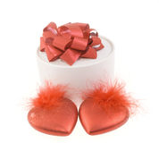 Round white box. With two red hearts Royalty Free Stock Images