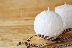 Round White Christmas Candle Stock Photography