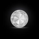 Round White Diamond Stone. On Black Background. Illustration stock illustration
