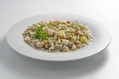 Round white dish of risotto with artichokes and seafood. Isolated on white background Stock Image