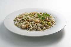 Round white dish of risotto with artichokes and seafood. Isolated on white background Stock Images
