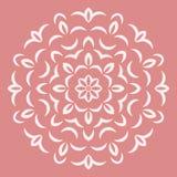 Round white flower pattern on pink background Stock Photos
