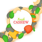 Round white frame on cashew nut diagonal composition background. Vector card illustration. Cashewnut frame, filbert Royalty Free Stock Image